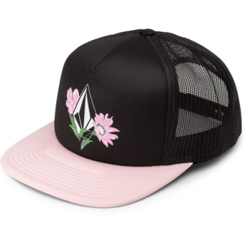 Volcom Blush Pink Salt & Sun Black Trucker Hat with Pink Visor