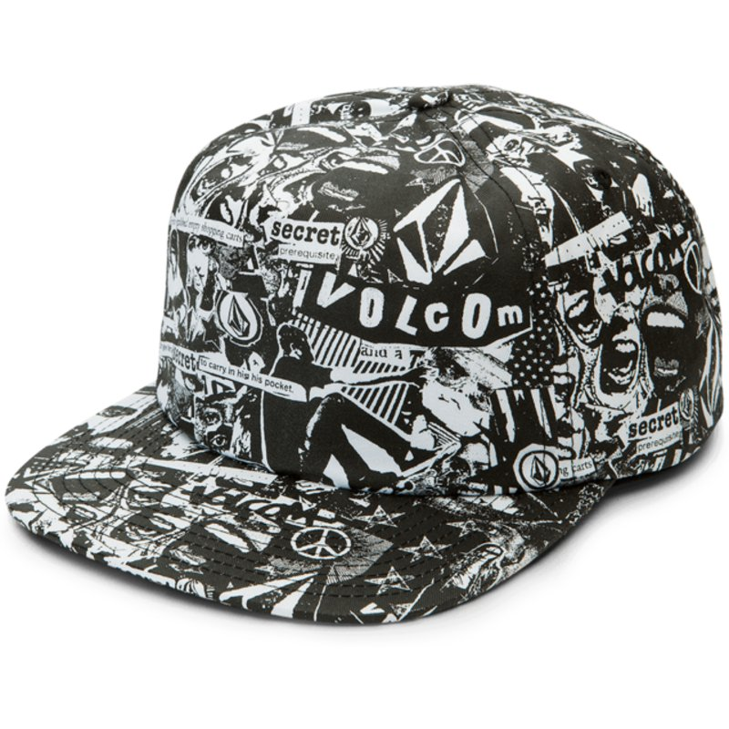 923b1e3f365 Volcom Flat Brim Black GMJ Black Snapback Cap  Shop Online at Caphunters