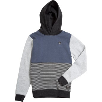 Volcom Youth Indigo Forzee Navy Blue, Grey and Black Hoodie Sweatshirt