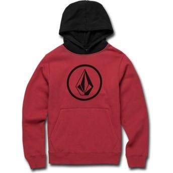 Volcom Youth Burgundy Stone Red and Black Hoodie Sweatshirt