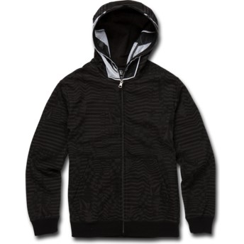 Volcom Youth Black Cool Stone Full Black Zip Through Hoodie Sweatshirt