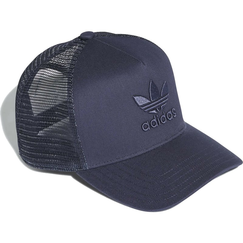 a318268ab56 Adidas Navy Blue Logo Trefoil Navy Blue Trucker Hat