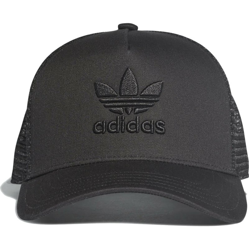 cdc7a5cbe47 Adidas Black Logo Trefoil Black Trucker Hat