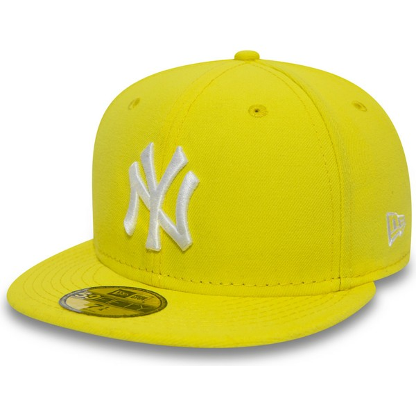 new-era-flat-brim-59fifty-essential-new-york-yankees-mlb-yellow-fitted-cap