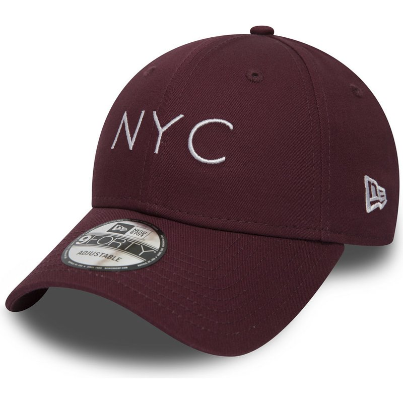 new-era-curved-brim-9forty-essential-nyc-maroon-adjustable-cap
