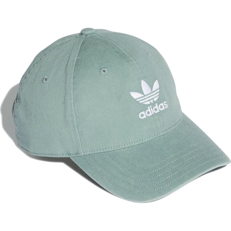 free shipping b162b 44773 adidas-curved-brim-washed-adicolor-green-adjustable-cap
