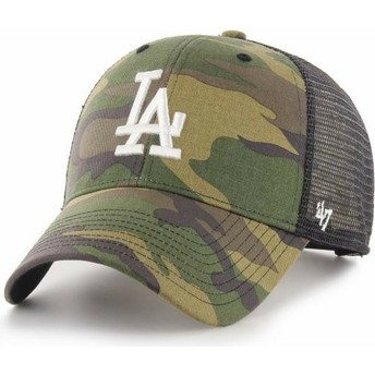 47 Brand White Logo MVP Branson Los Angeles Dodgers MLB Camouflage Trucker Hat