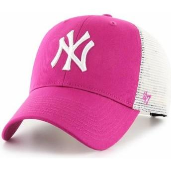47 Brand Dark PinkMVP Flagship New York Yankees MLB Pink Trucker Hat