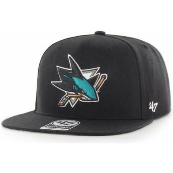 47 Brand Flat Brim Captain No Shot San Jose Sharks NHL Black Snapback Cap