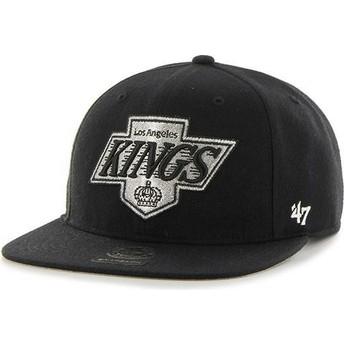 47 Brand Flat Brim Captain No Shot Los Angeles Kings NHL Black Snapback Cap