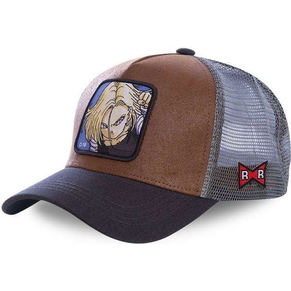 capslab-android-c-18-c18a-dragon-ball-brown-and-grey-trucker-hat