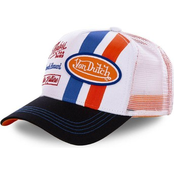 Von Dutch MCQORA White and Orange Trucker Hat