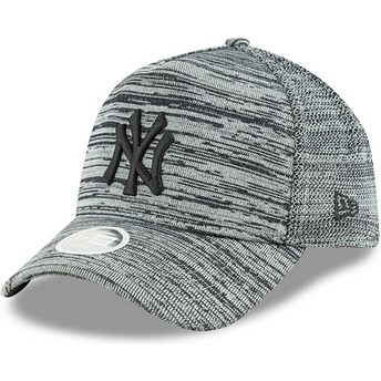 New Era Curved Brim Black Logo 9FORTY Engineered Fit New York Yankees MLB Grey Adjustable Cap