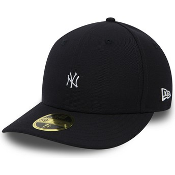 New Era Flat Brim 59FIFTY Low Profile Mini Logo New York Yankees MLB Black Fitted Cap