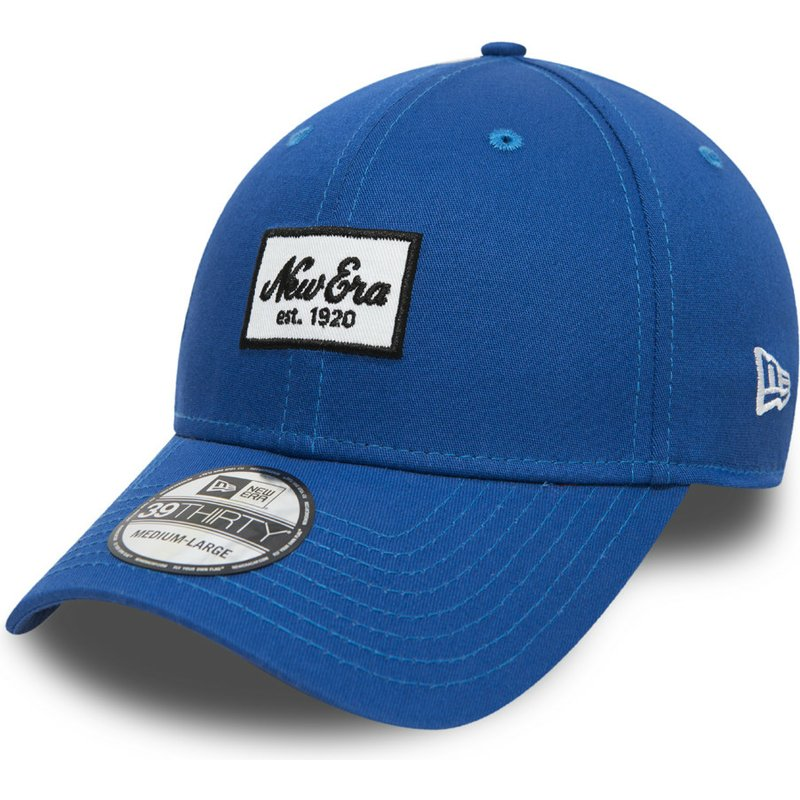 e150695c232 New Era Curved Brim Youth 39THIRTY Seasonal Script Patch Blue Fitted ...