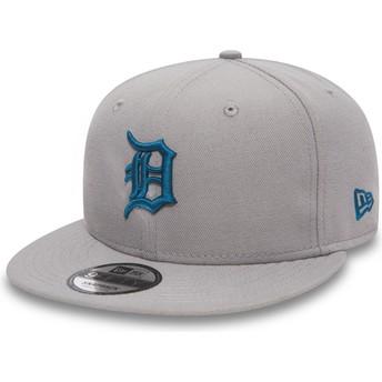 New Era Flat Brim Blue Logo 9FIFTY Essential League Detroit Tigers MLB Grey Snapback Cap