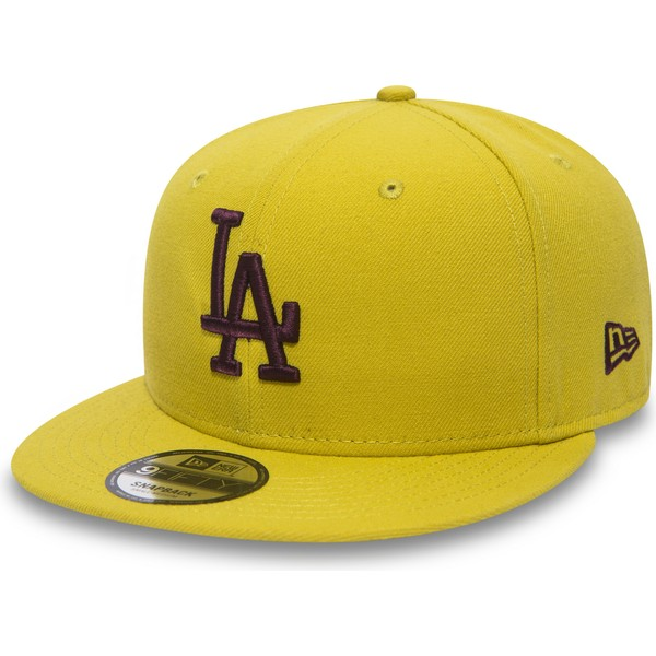 new-era-flat-brim-maroon-logo-9fifty-essential-league-los-angeles-dodgers-mlb-yellow-snapback-cap