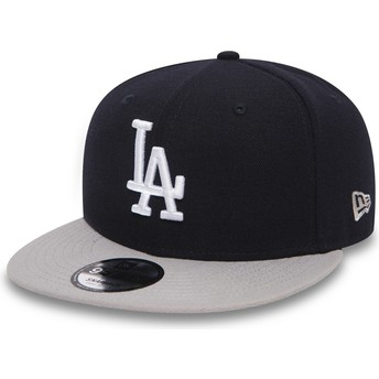 New Era Flat Brim 9FIFTY Team Los Angeles Dodgers MLB Black Snapback Cap with Grey Visor