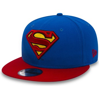 New Era Flat Brim 9FIFTY Team Superman Warner Bros Blue Snapback Cap with Red Visor