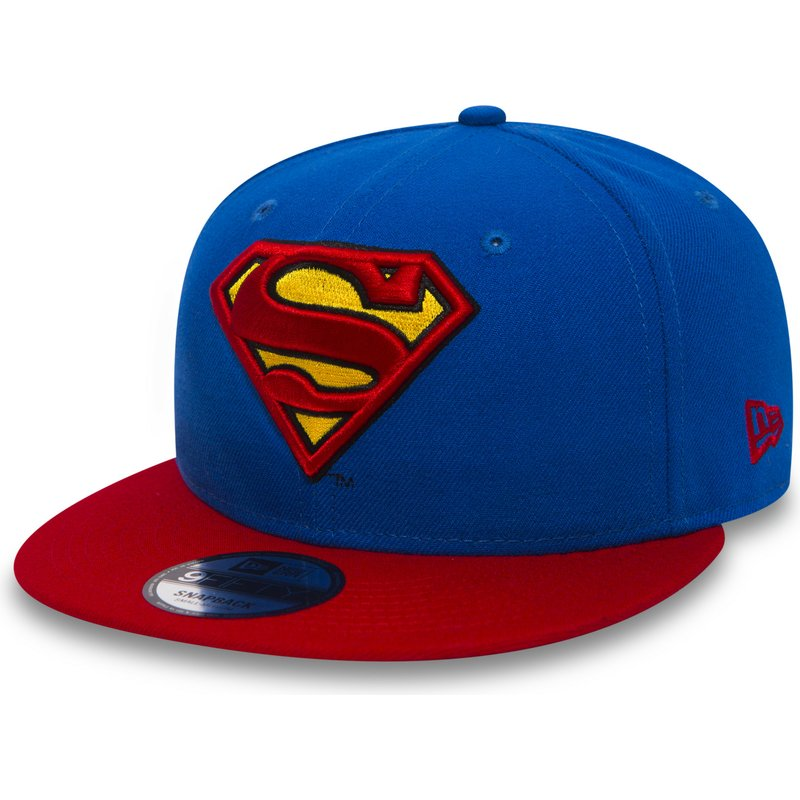 08d8a4942cd18 New Era Flat Brim 9FIFTY Team Superman Warner Bros Blue Snapback Cap ...