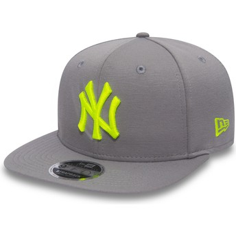New Era Flat Brim Green Logo 9FIFTY Jersey Pop New York Yankees MLB Grey Snapback Cap
