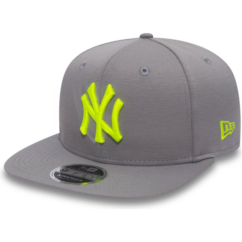 new-era-flat-brim-green-logo-9fifty-jersey-pop-new-york-yankees-mlb-grey-snapback-cap