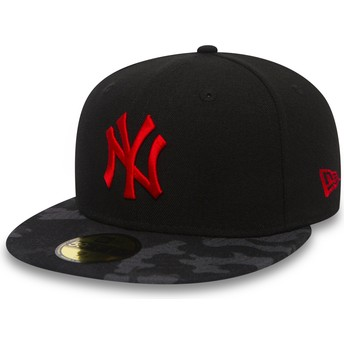 New Era Flat Brim Red Logo 59FIFTY Contrast Camo New York Yankees MLB Black Fitted Cap