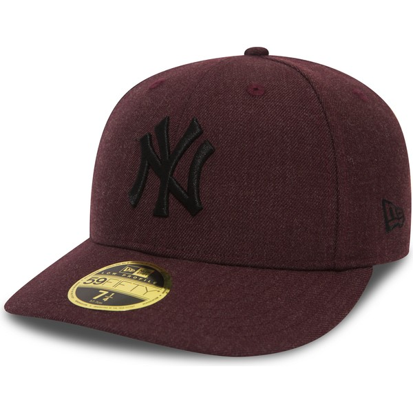 new-era-flat-brim-black-logo-59fifty-low-profile-heather-new-york-yankees-mlb-maroon-fitted-cap