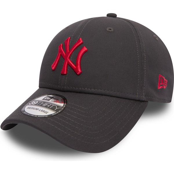new-era-curved-brim-red-logo-39thirty-essential-league-new-york-yankees-mlb-stone-fitted-cap