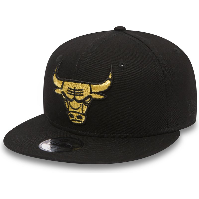 new-era-flat-brim-youth-gold-logo-9fifty-golden-chicago-bulls-nba-black-snapback-cap