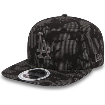 New Era Flat Brim Grey Logo 9FIFTY Night Time Reflective Los Angeles Dodgers MLB Black Snapback Cap