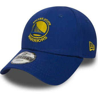 New Era Curved Brim Youth 9FORTY Essential Golden State Warriors NBA Blue Adjustable Cap