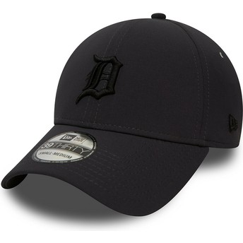 New Era Curved Brim Black Logo 39THIRTY Team Clean Detroit Tigers MLB Black Fitted Cap