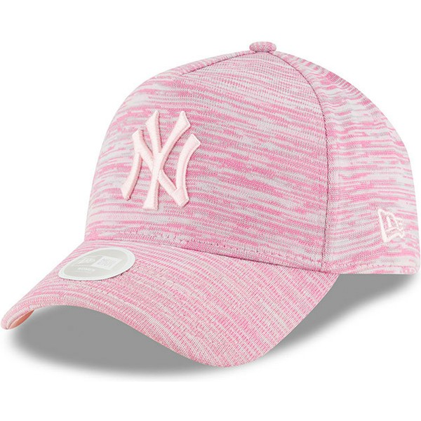 new-era-curved-brim-pink-logo-9forty-a-frame-engineered-fit-new-york-yankees-mlb-pink-adjustable-cap