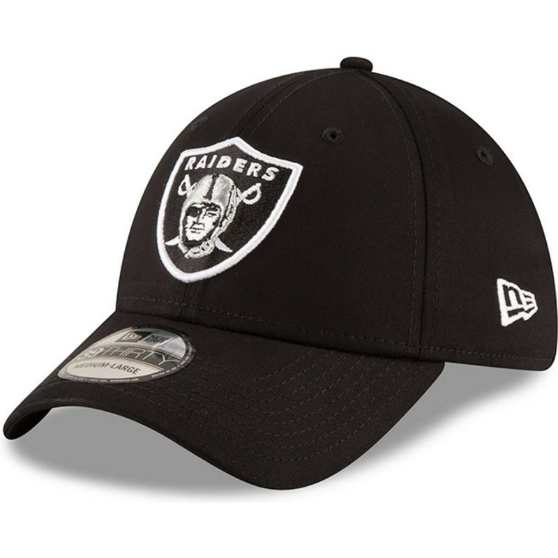 9a80761c1f1 New Era Curved Brim 39THIRTY Base Oakland Raiders NFL Black Fitted ...
