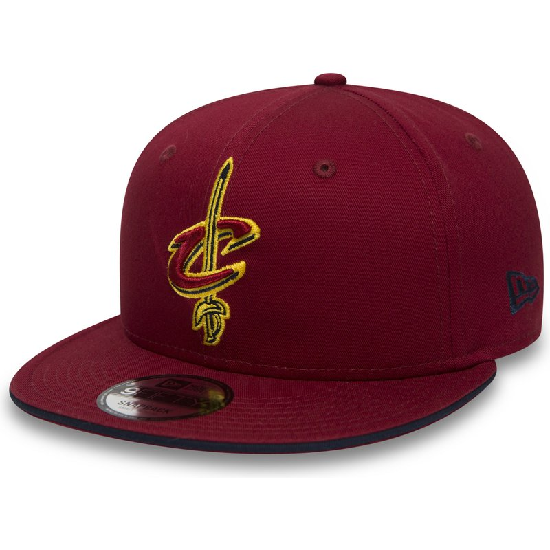 89cbc4edc4c New Era Flat Brim 9FIFTY Team Cleveland Cavaliers NBA Red Snapback ...