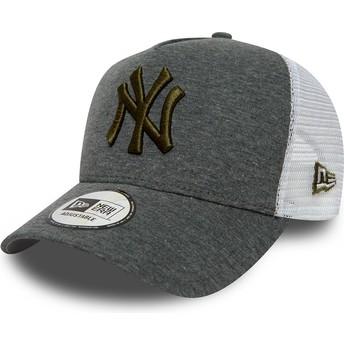 New Era Brown Logo 9FORTY Essential Jersey New York Yankees MLB Grey Trucker Hat