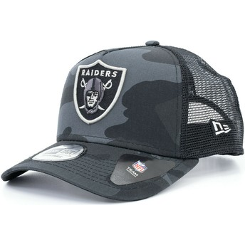 New Era Essential Camo A Frame Oakland Raiders NFL Camouflage and Black Trucker Hat