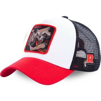 Capslab Rocket Raccoon ROC2 Marvel Comics White, Black and Red Trucker Hat