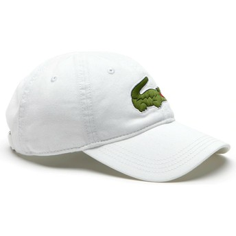 Lacoste Curved Brim Big Croc Gabardine White Adjustable Cap