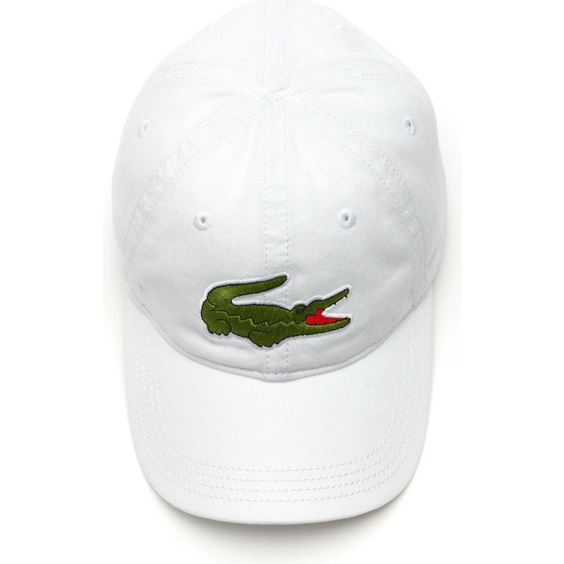 eceb2a0599 Lacoste Curved Brim Big Croc Gabardine White Adjustable Cap: Shop ...
