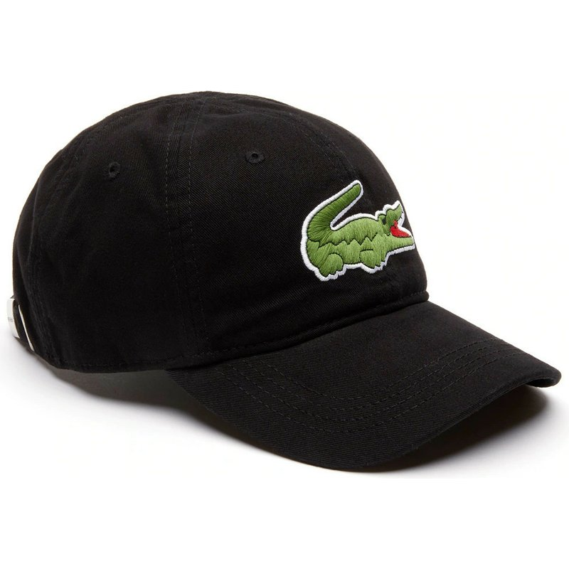2774a76a6f Lacoste Curved Brim Big Croc Gabardine Black Adjustable Cap: Shop ...