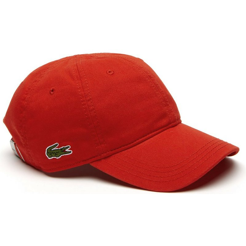 8b6bb9cec3 Lacoste Curved Brim Basic Side Crocodile Red Adjustable Cap: Shop ...