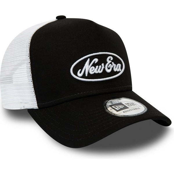 new-era-oval-script-a-frame-black-and-white-trucker-hat