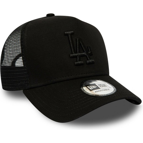 c3d034e3e New Era Black Logo League Essential A Frame Los Angeles Dodgers MLB Black  Trucker Hat