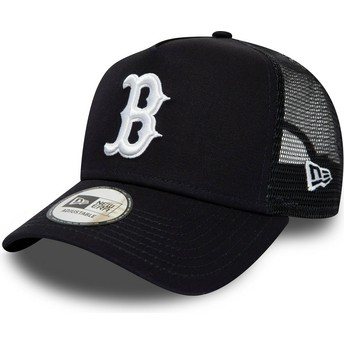 New Era League Essential A Frame Boston Red Sox MLB Navy Blue Trucker Hat
