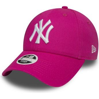 Gorra curva rosa ajustable 9FORTY Essential de New York Yankees MLB de New Era