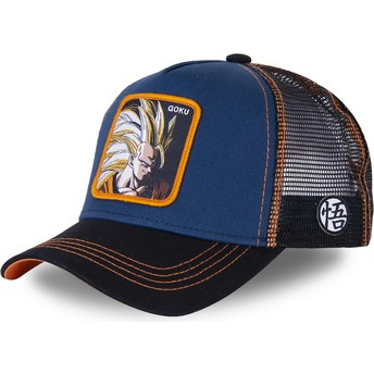 Capslab Son Goku Super Saiyan 3 SAN1 Dragon Ball Navy Blue Trucker Hat