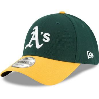Gorra curva verde y amarilla ajustable 9FORTY The League de Oakland Athletics MLB de New Era