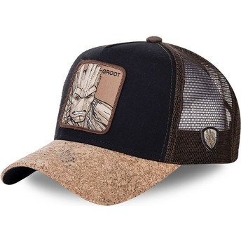 Capslab Groot GRO4 Marvel Comics Black and Brown Trucker Hat with Cork Visor